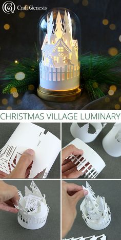 Paper Christmas Decorations, Christmas Paper Crafts, Christmas Projects, Holiday Crafts, Christmas Holidays, Xmas, Christmas Ornaments, Cricut Christmas Cards, Christmas Villages