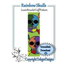 Bead Pattern Loom(Bracelet Cuff)-Rainbow Skulls