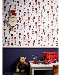 This playful Drummer Boy Soldier Wallpaper by Arthouse is British nostalgia at its best! The traditional motif illustrative design shows little drummer boys, in a watercolour effect set upon a white background.