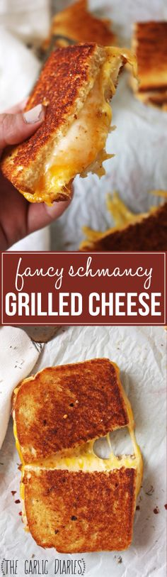 ~~Fancy Schmancy Grilled Cheese Sandwich | When you are in serious need of a classic comfort food grilled cheese sandwich! This is seriously the best grilled cheese sandwich you will ever have. Brushed with a garlic, red pepper flakes, and thyme infused butter and stuffed with THREE different cheeses. Rhis crispy, ooey gooey cheesey melted sandwich will be a household favorite! | The Garlic Diaries~~
