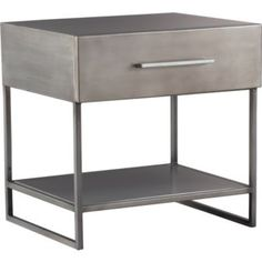 Proof Nightstand  CB2 $149.00  Science lab goes bedside. Add metal to the mix with sleek delustered industrial style storage authentic down to the metal clad construction and exposed joint welding.