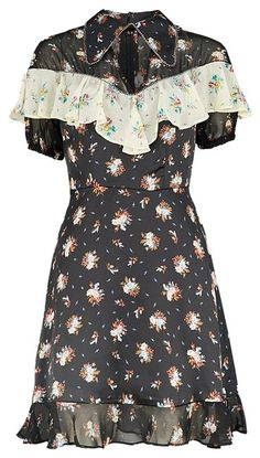 290223b56effe Black Rodeo Frill Western Skater Floral Embellished Casual Dress