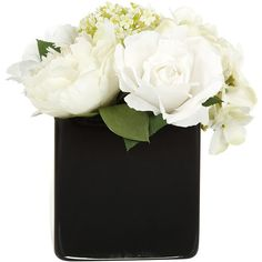 Paper Whites Hydrangea & Rose Centrepiece in Black Glass Cube (100 CAD) ❤ liked on Polyvore featuring home, home decor, floral decor, white hydrangea silk flowers, silk flower arrangement, silk flowers, flower stem and white fake flowers