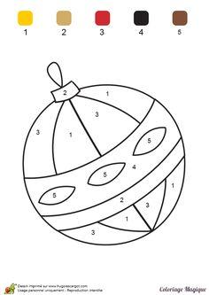 Coloriage magique maternelle, une boule de Noël - Hugolescargot.com