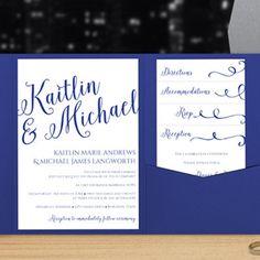 Pocket Wedding Invitation Template | Calligraphy (Royal Blue)
