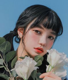 Image may contain: one or more people, flower and plant Korean Girl Image, Korean Photo, Pretty Korean Girls, Cute Korean Girl, Aesthetic People, Aesthetic Girl, Ulzzang Korean Girl, Asian Makeup, Grunge Girl