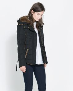 Image 2 of SHORT QUILTED JACKET WITH HOOD from Zara