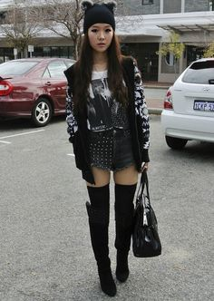 "♥ ""MEOW"" http://www.whatiwear.com/look/detail/128972  #theforestelf #winter #dress #motelrocks #leather #sportsgirl #chanel #blog #fashion #outfit #ootd #style #inspiration #beanie #zara #boots #winter #black #white"