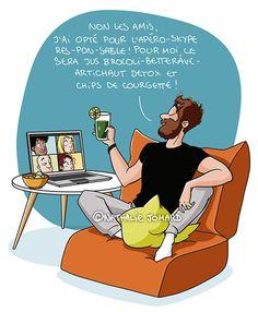 © Nathalie Jomard - Apéroskype responsable #illustration #nathaliejomard #covid19 #coronavirus #humour #humor #confinement #quarantaine #quarantine #friends #amis #apero #aperoskype #skype #comics #bd #dessin #drawing #funny #drôle #covid_19 #covid #illustrator #lockdown #detox #vegan #courgette #brocoli #betterave #jus Illustration, Lol, Drawings, Funny, Vegan, Friends, Instagram, Artichoke, Zucchini