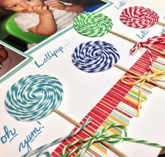Like the lollipops as scrapbooking idea