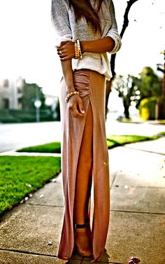 Slouchy grey sweater with slit maxi skirt and heels. Gold jewellery... alright fell in love with the maxi skirts/dresses
