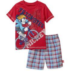 BABY BOY PRINT TEE   Disney Baby Boy's Mickey Red Tee and Plaid Short Set