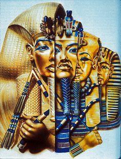 3 Tutankhamun's sarcophaguses and funerary mask.