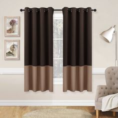 NICETOWN Living Room Blackout Curtains - Window Treatment Thermal Insulated Grommet Colorblock Blackout Drapes Brown