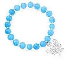 AMEN Bracelet - Angel of God in sterling silver - Murano Glass Size 8mm - Blue