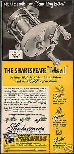1951 SHAKESPEARE IDEAL CASTING REEL AD~Vintage Fishing