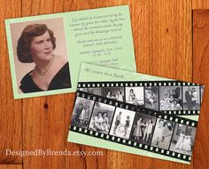 """These vintage style """"In a Flash"""" birthday invitations can hold multiple photos on a filmstrip. Rustic looking. Any age or anniversary: 50th 60th 70th 80th 90th or 100th. DesignedByBrenda.com"""