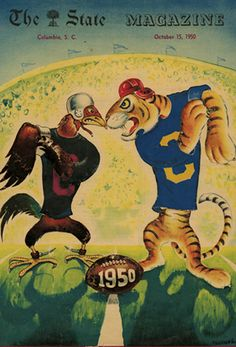"Throwback Thursday: USC Libraries is now home to a collection of more than 5,000 images, plus correspondence, sketchbooks, and even early elementary-school artwork by The State newspaper's first staff artist, Oscar Jackson ""Jak"" Smyrl. This is his depiction of the Big Thursday showdown as it appeared on the cover of The State Magazine on October 15, 1950.   Click to read more about the Smyrl collection."
