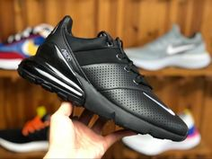 70a9dadfb4d2 Nike Air Max 270 Premium Black Leather Men s Running Shoes For Sale