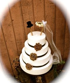 Rustic wedding cake topper country fall weddings by MomoRadRose, $24.00