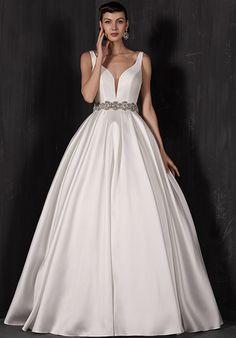 Satin Sleeveless V Neck Gown   Calla Blanche   http://trib.al/gvY7baC