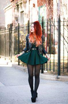 Luanna  of Love Out of Lust in the Nasty Gal Sweetheart Skater Dress || Get the dress: http://www.nastygal.com/product/nasty-gal-sweetheart-skater-dress--hunter-green?utm_source=pinterest&utm_medium=smm&utm_term=ngdib&utm_content=nasty_gals_do_it_better&utm_campaign=pinterest_nastygal