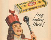 1951 Beech-Nut Gum Beautiful Girl Marching Band Majorette Vintage Ad