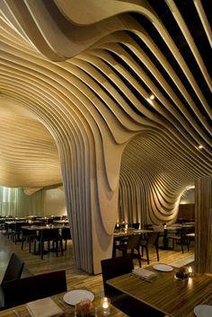 Wave ceiling, Boston, MA., USA; Architects: Office dA, Project Architect: Dan Gallagher, Project Design: Nader Tehrani, Monica Ponce de Leon