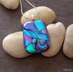 Dichroic glass pendant, blue, green, pink, purple