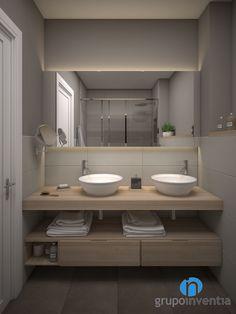 El baño contará con dos lavabos de diseño ovalado sobre un mueble de madera. #reformas #interiorismo #3D #Barcelona