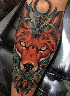 Crystal Eyed Fox And Owl Tattoo Mens Forearms