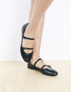 Mijanou Ballerina in Black leather