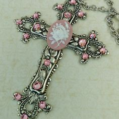 New in our etsy shop: Trendy large cross necklace with rose cameo in antique style