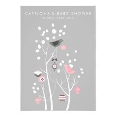 Pink and Gray Winter Snow Baby Shower Invitation