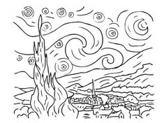 Van gogh the starry night - Art Coloring pages for kids Coloring Pages for Adults - Just Color Van Gogh Tattoo, Coloring For Kids, Coloring Books, Coloring Pages, Art Van, Van Gogh Tatuaje, Van Gogh Arte, Starry Night Art, Starry Night Tattoo