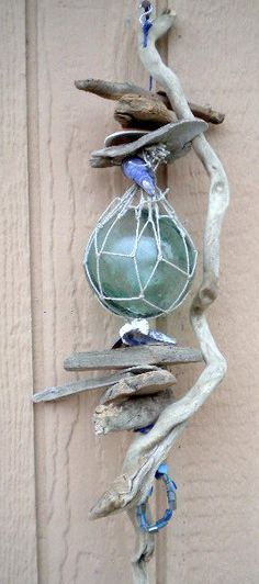 Glass Fishing Float, Driftwood Float Hanger, Alaskan Handmade