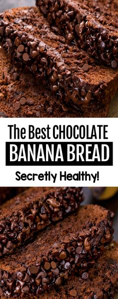 The BEST Healthy Chocolate Banana Bread Recipe, tastes like eating chocolate cake for breakfast! The BEST Healthy Chocolate Banana Bread Recipe, tastes like eating chocolate cake for breakfast! Healthy Bread Recipes, Easy Baking Recipes, Healthy Sweets, Healthy Baking, Dessert Healthy, Breakfast Healthy, Healthy Brunch, Easy Healthy Banana Bread, Simple Food Recipes