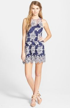 Taylor & Sage Lace & Mesh Shift Dress available at #Nordstrom