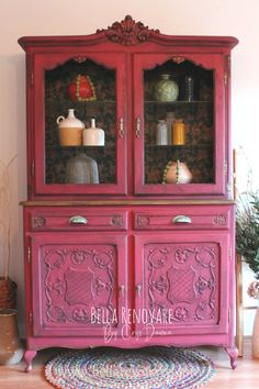 It's no secret I love BOLD COLORS. I kept putting off this china cabinet makeover until I choose the perfect color. Hot Pink Furniture, Red Painted Furniture, Colorful Furniture, Paint Furniture, Unique Furniture, Furniture Makeover, Furniture Ideas, Dresser Makeovers, Furniture Refinishing
