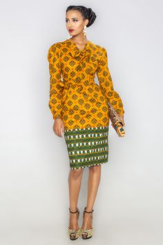 Rocking the collar tie and double print trend, this dress is perfect for that special occasion.
