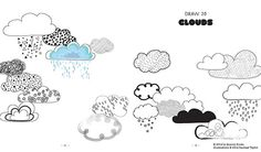 Clouds! #20waysdoodle http://www.rachaeltaylordesigns.co.uk/shop/paper/books/20-ways-to-draw-a-doodle-book#.U7Zxkv15mao