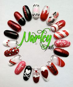 some lovable nail ideas. ** Please, it is important to me that you list inspired by Claire or Narley if your design came from one of my nail art images. I want to get my work known and out the. Fancy Nails, Red Nails, Cute Nails, Pretty Nails, Hair And Nails, Valentine Nail Art, Holiday Nail Art, Nail Art Wheel, Heart Nail Art