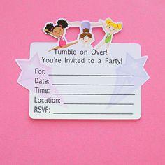 Gymnastic Birthday Invitation Girl Gymnastics Party Printable - Birthday invitation templates gymnastics