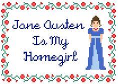 """Pattern: Cross Stitch """"Jane Austen Is My Homegirl"""" PATTERN *PDF* FILE by StitchBitchDarling on Etsy https://www.etsy.com/listing/226694068/pattern-cross-stitch-jane-austen-is-my"""