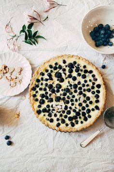 blueberry almond custard tart with a rye shortbread crust