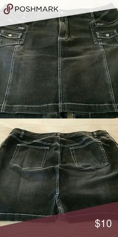 Black Jean mini skirt Black faded Jean mini skirt with light blue stitching Venezia Skirts Mini