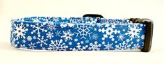 Awesome White Snowflakes on Bright Blue Dog Collar by Maltipaws, $13.25