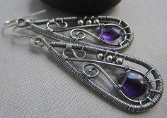 Amethyst Earrings/ Silver Wire Earrings / Amethyst Wire