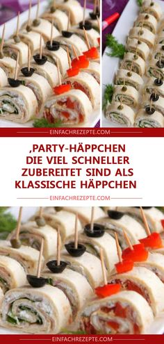 Party snacks that are prepared much faster than classic snacks ˜ .Party snacks that are prepared much faster than classic snacks ?Finger food recipes make your next party a pleasureFinger food Best Party Appetizers, Snacks Für Party, Brunch Recipes, Appetizer Recipes, Easy Recipes, Party Finger Foods, Party Buffet, Healthy Snacks, Food And Drink