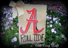 Alabama Roll Tide Burlap Garden Flag Crimson by thecozyloft